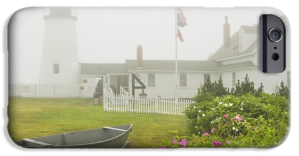 Rugged Coastline iPhone Cases - Pemaquid Point Lighthouse in Fog Maine Prints iPhone Case by Keith Webber Jr