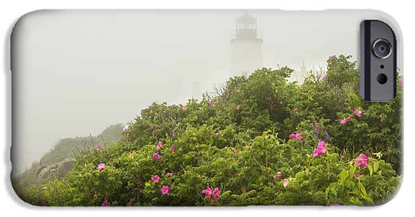 New England Lighthouse iPhone Cases - Pemaquid Point Lighthouse in Fog on the Maine Coast iPhone Case by Keith Webber Jr