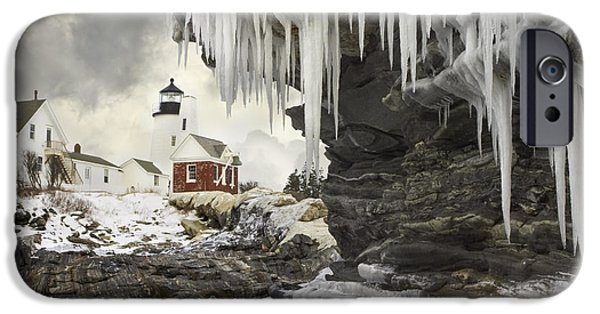 Down East iPhone Cases - Pemaquid Point Lighthouse on the Maine Coast iPhone Case by Keith Webber Jr
