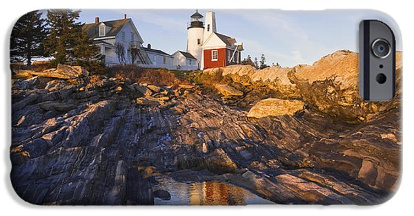 New England Lighthouse iPhone Cases - Pemaquid Point Lighthouse Reflection on the Coast of Maine  iPhone Case by Keith Webber Jr