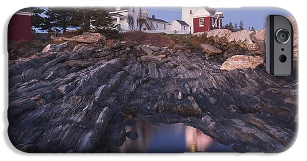 New England Lighthouse iPhone Cases - Pemaquid Point Lighthouse Tide Pool Reflection on Maine Coast iPhone Case by Keith Webber Jr