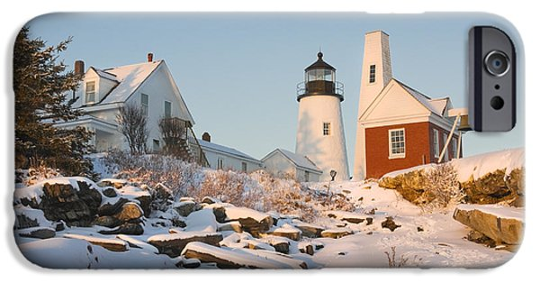 Winter Weather iPhone Cases - Pemaquid Point Lighthouse Winter in Maine  iPhone Case by Keith Webber Jr