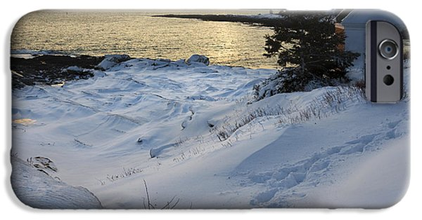 Down East iPhone Cases - Pemaquid Point Winter Sunset on the Maine Coast iPhone Case by Keith Webber Jr