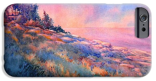 Maine Landscapes Paintings iPhone Cases - Pemaquid Rocks iPhone Case by Virgil Carter