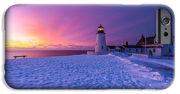 New England Lighthouse iPhone Cases - Pemaquid sunrise iPhone Case by Don Seymour