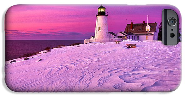 Recently Sold -  - New England Lighthouse iPhone Cases - Pemaquid Winter Sunrise iPhone Case by Benjamin Williamson