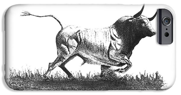 Pen And Ink iPhone Cases - Pen and ink drawing of Bull in Black and White iPhone Case by Mario  Perez