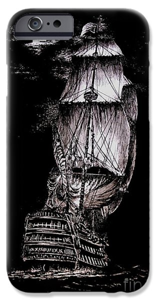 Pirate Ship Drawings iPhone Cases - Pen and Ink Drawing of Ghost Boat in black and white iPhone Case by Mario  Perez