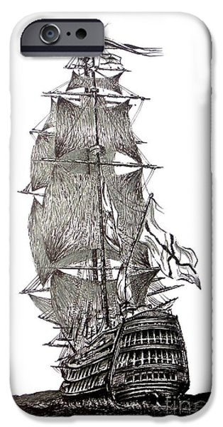Pirate Ship Drawings iPhone Cases - Pen and Ink Drawing of Sail Ship in Black and White iPhone Case by Mario  Perez