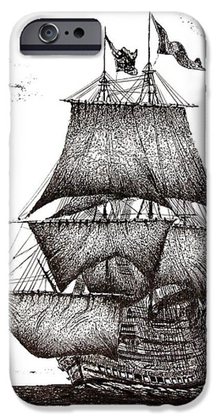 Pirate Ships Drawings iPhone Cases - Pen and Ink Drawing of Sailing Ship in Black and White iPhone Case by Mario  Perez