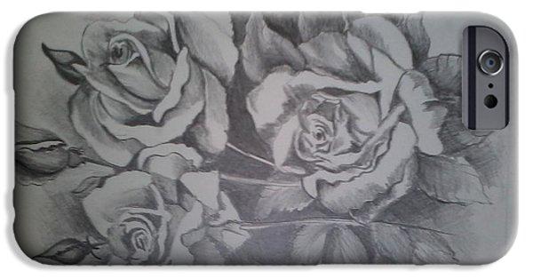 Floral Ceramics iPhone Cases - Pencil Sketch iPhone Case by Ipsita Chinara