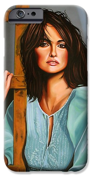 With Love iPhone Cases - Penelope Cruz iPhone Case by Paul Meijering