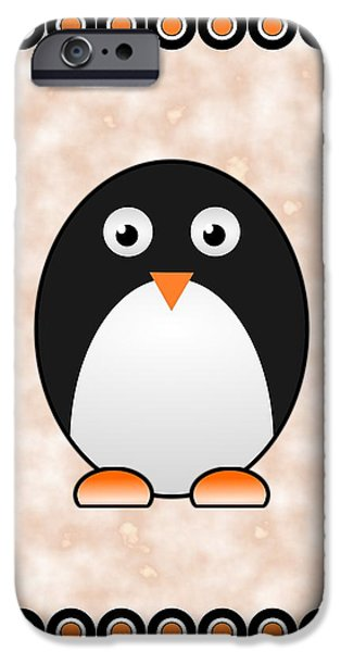 Baby Bird Mixed Media iPhone Cases - Penguin - Birds - Art for Kids iPhone Case by Anastasiya Malakhova