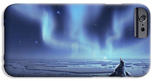 Phantasie Digital Art iPhone Cases - Penguin Dreams iPhone Case by Cassiopeia Art