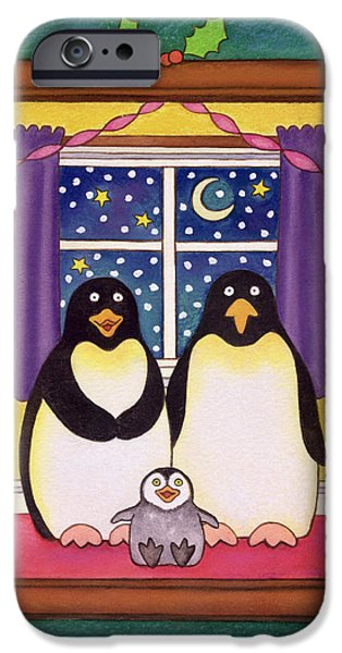 Chicks iPhone Cases - Penguin Family Christmas, 1997 Pastel On Paper iPhone Case by Cathy Baxter