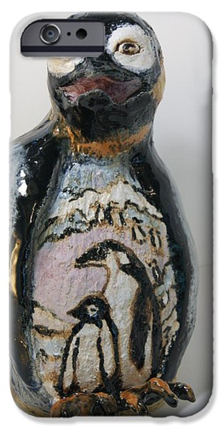 Birds Ceramics iPhone Cases - Penguin memories iPhone Case by Susan  Brown    Slizys art signature name