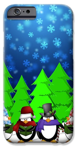 Winter Scene iPhone Cases - Penguins Carolers Singing with Winter Snowing Scene Illustration iPhone Case by JPLDesigns