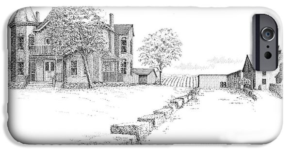 Pen And Ink iPhone Cases - Peninsula Ridge Winery iPhone Case by Steve Knapp