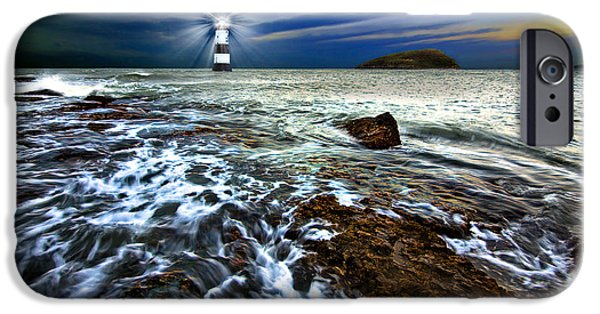 Lighthouse iPhone Cases - Penmon Light And Puffin Island iPhone Case by Meirion Matthias