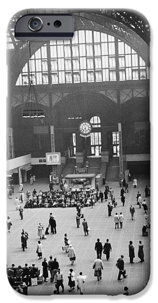 Old Bus Stations Photographs iPhone Cases - Penn Station Nyc 1957 iPhone Case by Van D Bucher