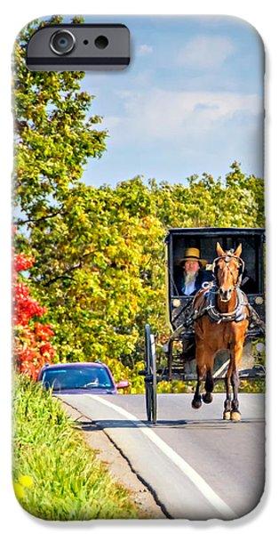 Indiana Autumn iPhone Cases - Pennsylvania Amish iPhone Case by Steve Harrington