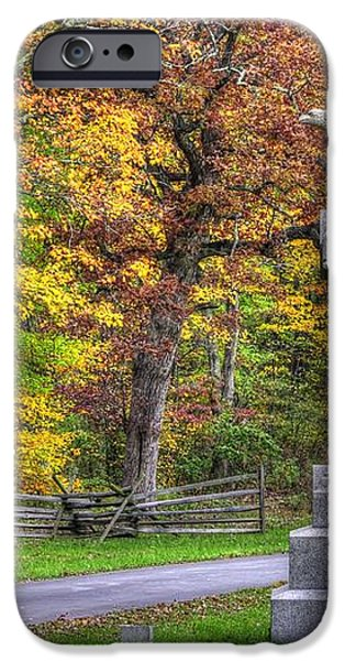 Pennsylvania at Gettysburg - 115th PA Volunteer Infantry De Trobriand Avenue Autumn iPhone Case by Michael Mazaika