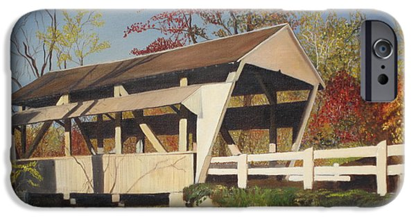 Covered Bridge Paintings iPhone Cases - Pennsylvania Covered Bridge iPhone Case by Barbara McDevitt