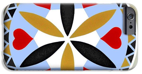 Deutsch iPhone Cases - Pennsylvania Dutch Hex 3 iPhone Case by Otto Werner