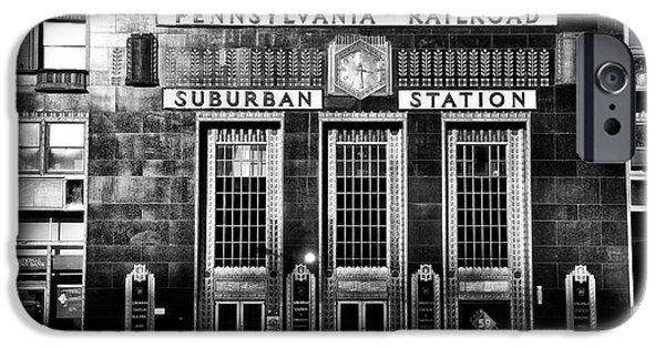 Suburban Digital Art iPhone Cases - Pennsylvania Railroad Suburban Station in Black and White iPhone Case by Bill Cannon