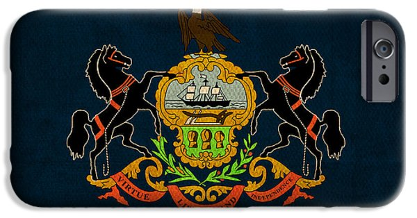 Pennsylvania iPhone Cases - Pennsylvania State Flag Art on Worn Canvas iPhone Case by Design Turnpike