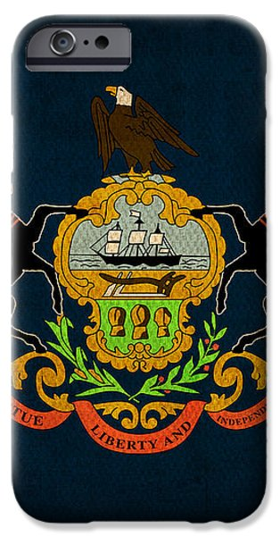 Pennsylvania State Flag Art on Worn Canvas iPhone Case by Design Turnpike