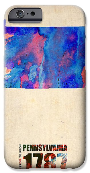 Pennsylvania Watercolor Map iPhone Case by Naxart Studio