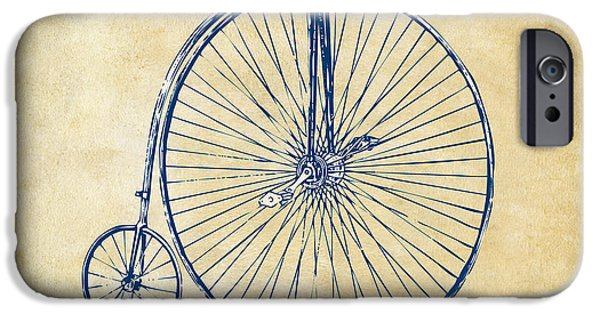 Sectioned iPhone Cases - Penny-Farthing 1867 High Wheeler Bicycle Vintage iPhone Case by Nikki Marie Smith