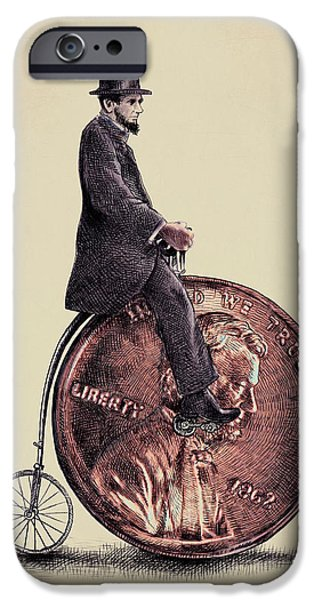 Lincoln Digital Art iPhone Cases - Penny Farthing iPhone Case by Eric Fan