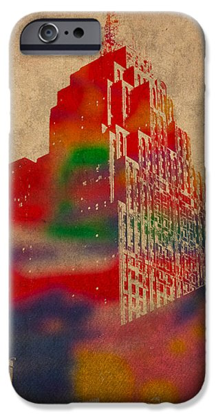 Buildings Mixed Media iPhone Cases - Penobscot Building Iconic Buildings of Detroit Watercolor on Worn Canvas Series Number 5 iPhone Case by Design Turnpike