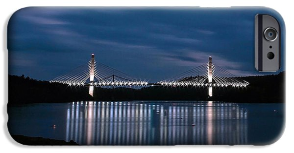 Recently Sold -  - Bay Bridge iPhone Cases - Penobscot Narrows Bridge and Observatory at Night iPhone Case by Barbara West