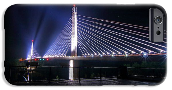Island Stays iPhone Cases - Penobscot Narrows Bridge and Observatory Lit Up iPhone Case by Barbara West