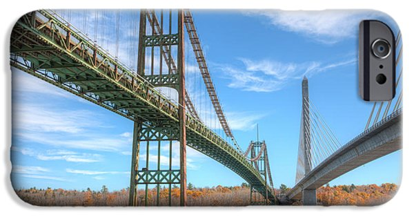 Island Stays iPhone Cases - Penobscot Narrows Bridges iPhone Case by Clarence Holmes