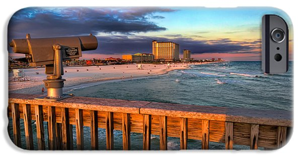 Sunrise iPhone Cases - Pensacola Beach from the Pier iPhone Case by Tim Stanley