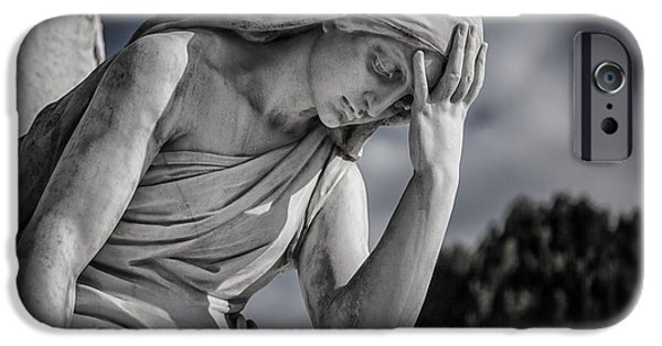 Cemetary iPhone Cases - Pensive Angel at Heredia Cemetery iPhone Case by Andres Leon