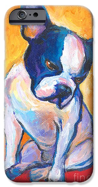 Cute Puppy iPhone Cases - Pensive Boston Terrier Dog  iPhone Case by Svetlana Novikova