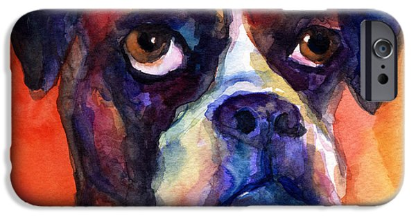 Boxer Dog iPhone Cases - pensive Boxer Dog pop art painting iPhone Case by Svetlana Novikova