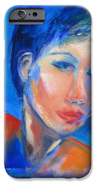 Beautiful Faces iPhone Cases - Pensive iPhone Case by Elise Palmigiani