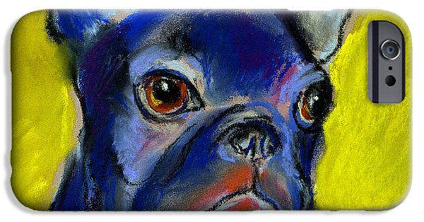 Blue Pastels iPhone Cases - Pensive French Bulldog portrait iPhone Case by Svetlana Novikova