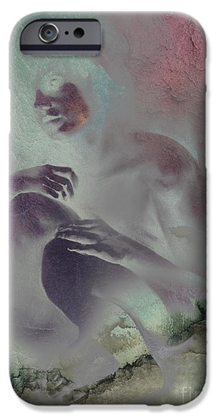 Contemplative Drawings iPhone Cases - Pensive with texture 2 iPhone Case by Paul Davenport