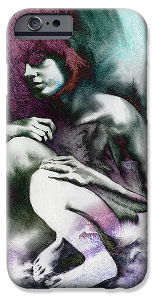Pensive with Texture iPhone Case by Paul Davenport