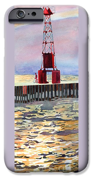 Chicago Paintings iPhone Cases - Pentwater South Pier iPhone Case by LeAnne Sowa