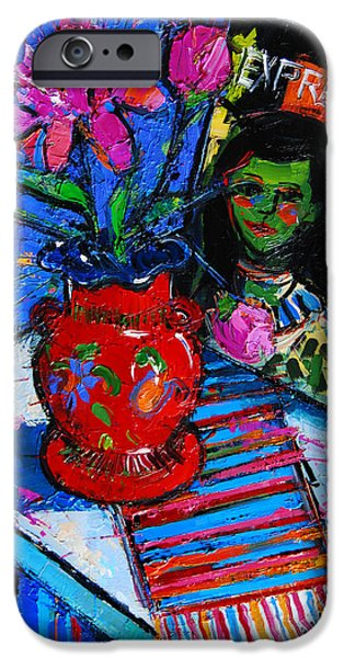 Blue And Red Paintings iPhone Cases - Peonies And Art Book iPhone Case by Mona Edulesco