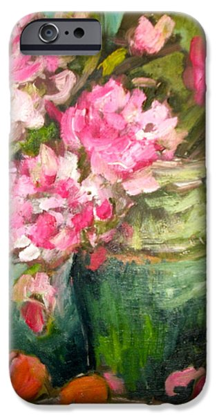 Peonies and Peaches iPhone Case by Carol Mangano
