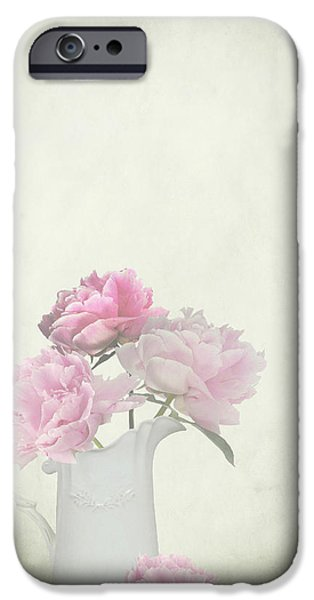 Interior Still Life iPhone Cases - Peonies in a jug iPhone Case by Artskratches